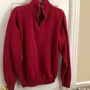 Red cotton 3/4 zip sweater from Izod - M